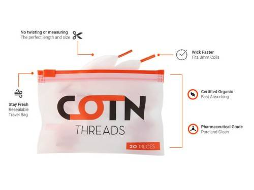 COTN Threads Pre-Cut Selbstwicklerwatte 20 Stück Pack
